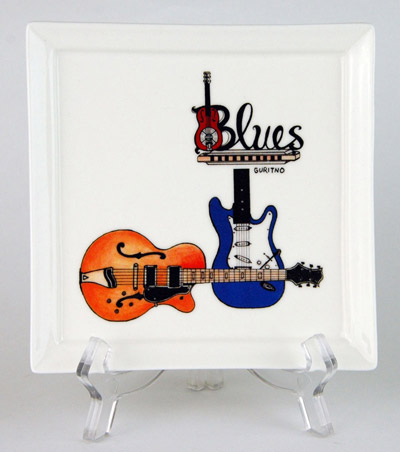 CFP62: Blues Small Platter & Stand