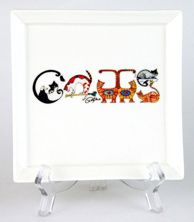 CFP166: Cats Small Platter & Stand